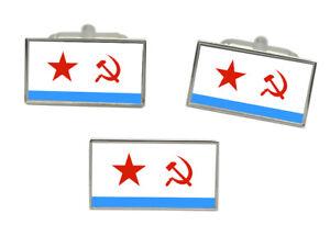 Argentina Flag Cufflinks Tie Clip Matching Box Gift Set