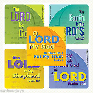 The Lord Is... Stickers x 10 - Psalm 100, 144, 23, 24, 7 - Religion - Bible