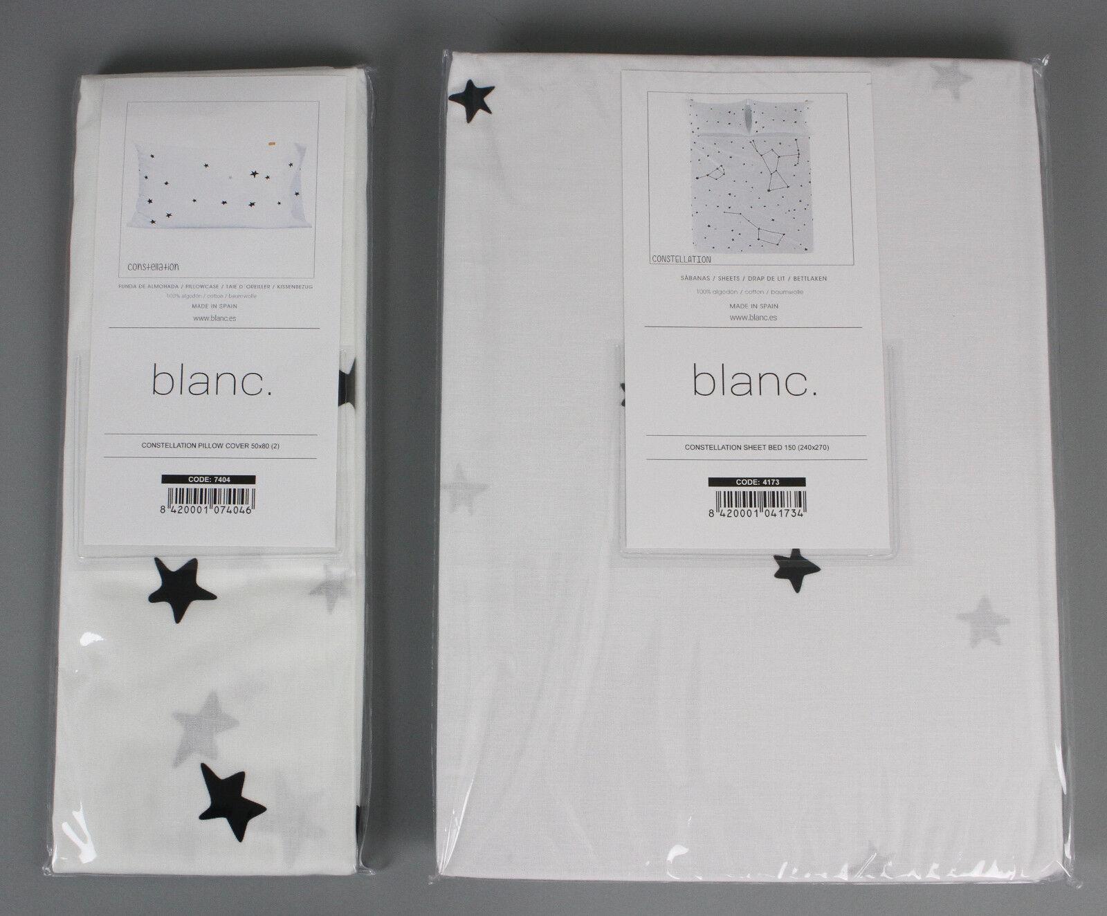 Weiß Constellation Bettlaken 240x270cm + Kissenbezug 50x80 Sternenbild B3-CB