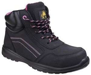 Amblers AS601 Composite Safety Boot Black Leather Side Zip PPE Shoes Ladies