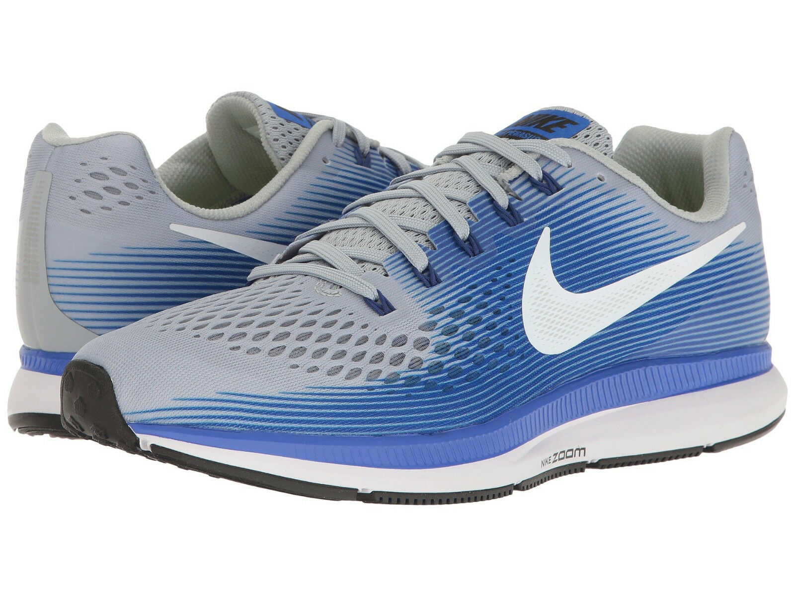 Nike Air Zoom Pegasus 34, Men's Sizes 10-13 Extra Wide (4E) Grey White bluee NEW