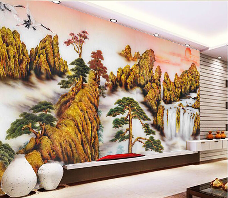 3D Painting mountain scenery Wall Paper Print Decal Wall Deco Indoor wall Mural