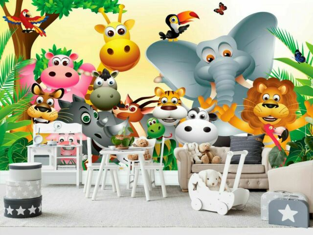 Large paper wallpaper for kids room 254x183cm wall mural Animals on the farm