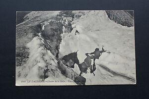 Tarjeta-Postal-Antigua-Animada-El-Dauphine-Glaciar-de-La-Meije-Una-Grieta