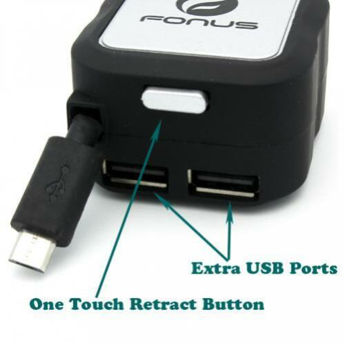 4.8AMP RETRACTABLE CAR DC SOCKET PLUG-IN CHARGER USB 2-PORT For PHONES /& TABLETS