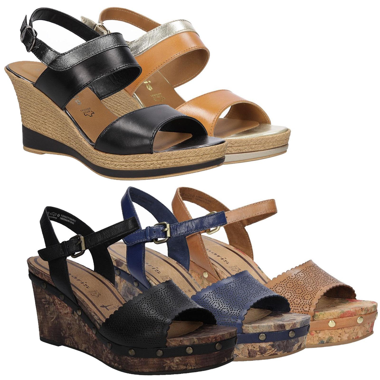 Damen Sandaleetten Tamaris 1-28359-26 Echtleder Schnalle Keilabsatz Gr.35-40 SALE