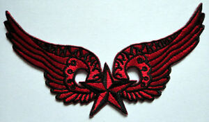 Red Black Nautical Star With Wings Embroidered Iron On Patch Free