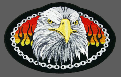 EAGLE HEAD BIKE CHAIN BIKER EMBROIDERED 5 INCH PATCH