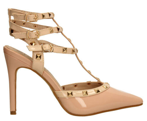 Womens Stiletto Patent High Heel Stud Pump Sandal Ladies Shoes Pink White