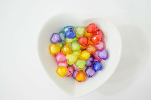Lot 10 Perle Coeur 14mm Acrylique Couleur Mix Creation Bijoux