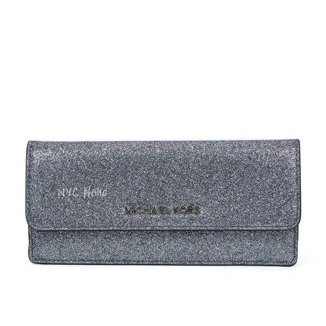 1f2b502b67dc Authentic Michael Kors MK Giftables Sparkly Dusty Blue Flat Wallet ...