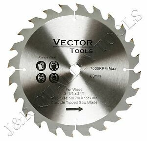 "Vector 8-1/4-In x 24T Carbide Tipped Saw Blades for Wood with 5/8"" & 7/8"" Arbor"