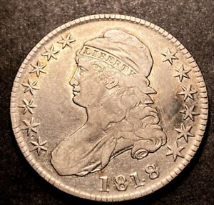 1818 Capped Bust Half Dollar 50c High Grade Details Better Early Date Type Coin