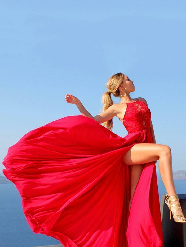 Kleid maxi große kleid mode frau rot teilt weich bohoo bohemia 5139