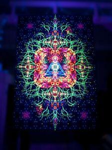 Details About Festival Yoga Trippy Backdrop UV Active Sacred Backdrop  Bohemian Wall Decor