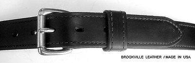 "1.25/"" BLACK BRIDLE LEATHER BELT STAINLESS BUCKLE AMISH MADE IN THE USA"