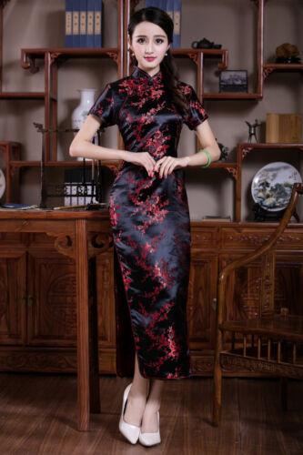 UK Stock Black /& Burgundy Cherry Blossom Chinese Long Evening Party Dress