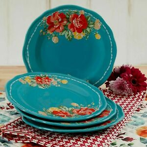 The-Pioneer-Woman-8-5-034-Teal-Blue-Vintage-Floral-Salad-Plate-single