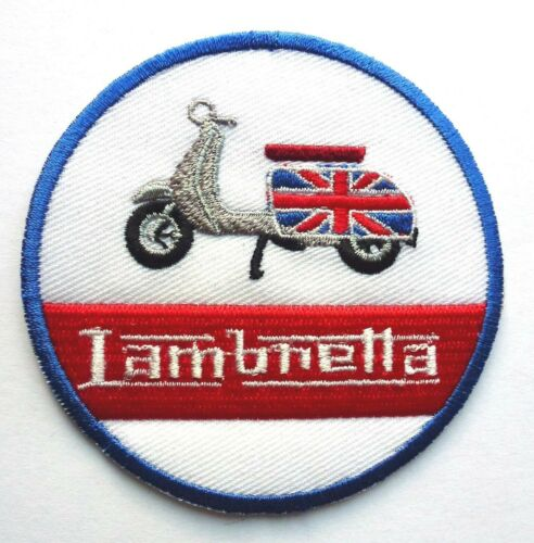 LAMBRETA MOD SCOOTER SEW OR IRON ON BIKER MOTORCYCLE PATCH 78mm x 78mm