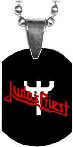 JUDAS PRIEST Fork Logo Mini Dog Tag Necklace Metal Balls Chain Rock Merchandise