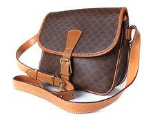 Authentic CELINE MACADAM PVC Canvas, Leather Brown Shoulder Bag CS1010