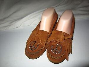 Minnetonka Suede Brown Moccasins Loafers Sz 7M (SOE-38)