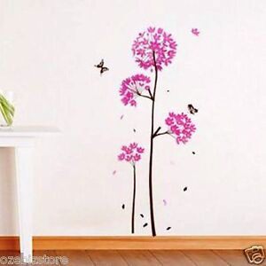 Pink-Dandelion-Flowers-Butterfly-Removable-Wall-Sticker-Kids-Girls-Living-Room