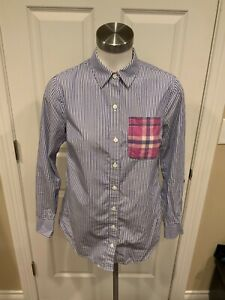 Vineyard Vines Blue & White Striped Button-Up Long Sleeve Shirt, Size 0