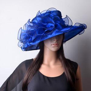 Luxe Damenhut Royal Bleu Chapeau Brauthut Organzahut Mariage Course De Chevaux Anlaßhut-afficher Le Titre D'origine