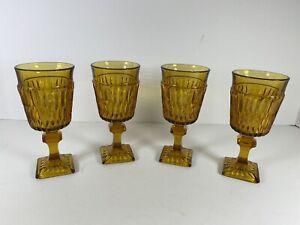 Set-of-4-Vintage-Indiana-Glass-Mount-Vernon-Amber-Wine-Glasses