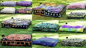 Indian Meditation Square Floor Pillow Cushion Pouf Cover Sitting ...