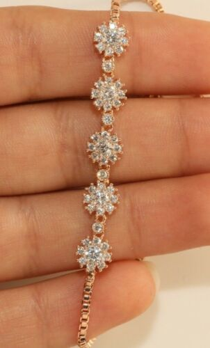 18K Or Rose Finition Diamant Rond Tennis Bracelet réglable 1 ct Taille