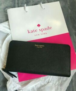 AUTH-BNEW-KATE-SPADE-CAMERON-LARGE-BLACK-ZIP-AROUND-WALLET