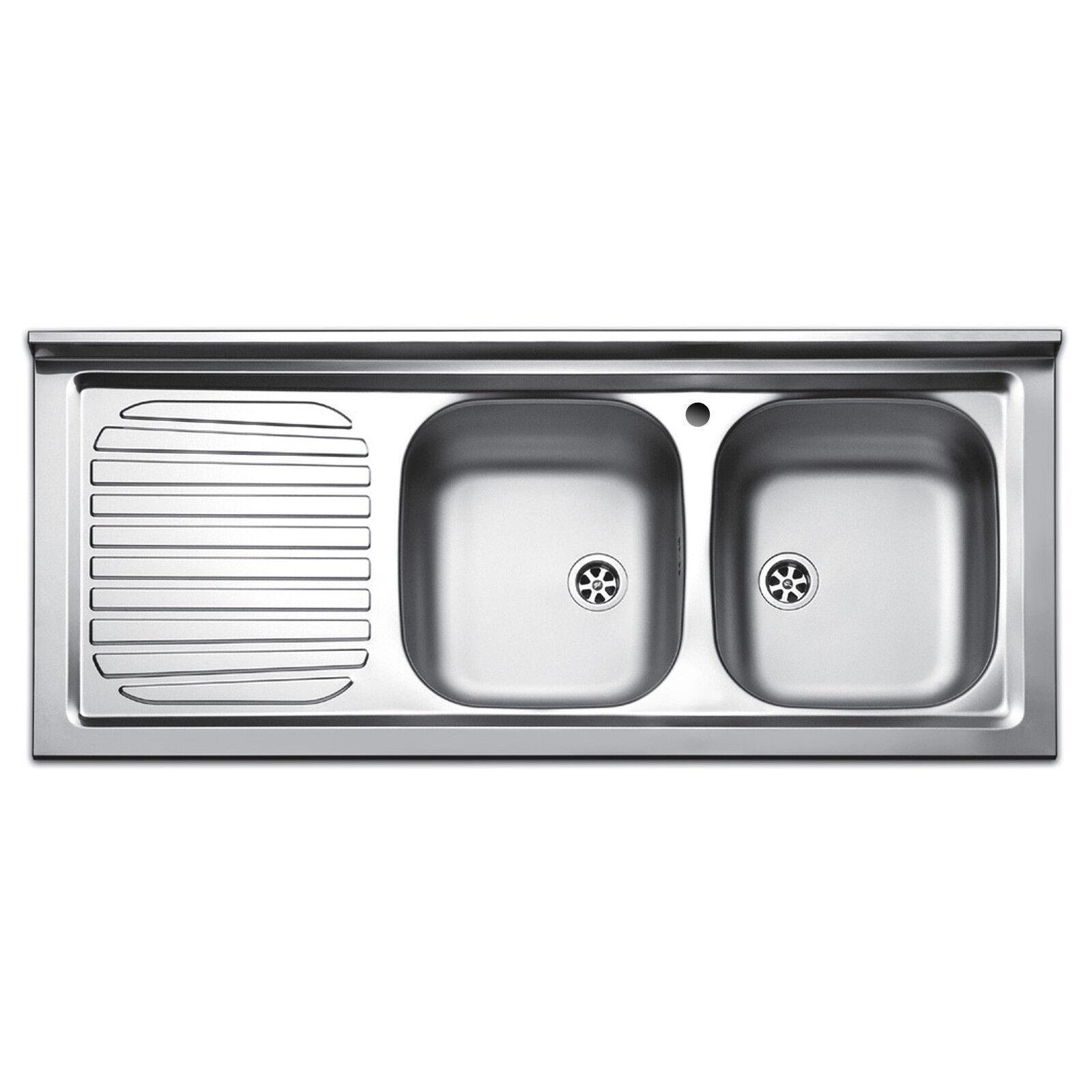 Lavandino in acciaio inox lavello appoggio da cucina 120 cm scolapiatti sinistra