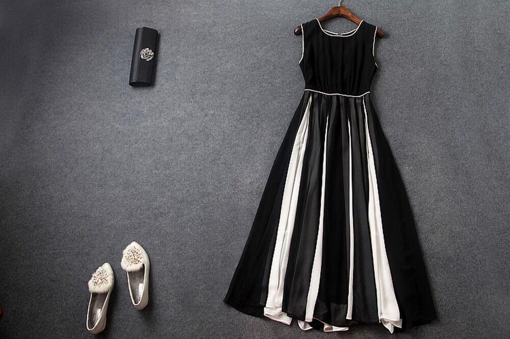 Farbeblock Slim Sans Manches Mousseline Swing robe de soirée plus 1x-10x (SZ16-52) G223