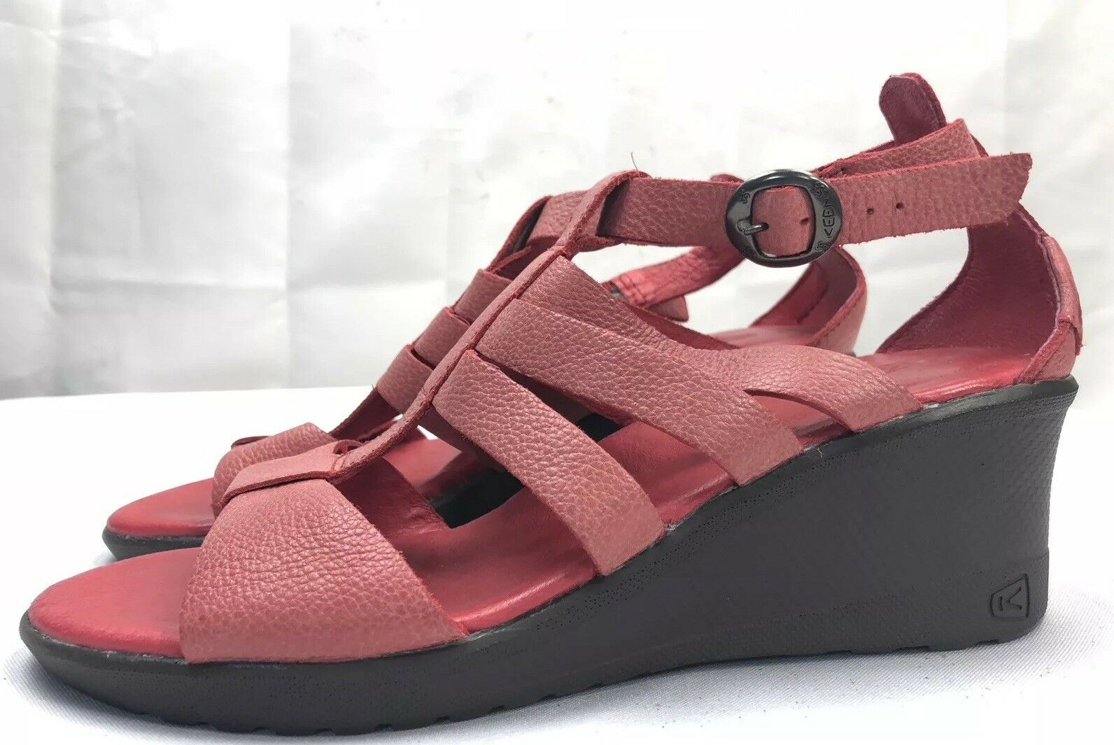 Keen Women's Victoria Size Gladiator Ribbon Red Leather Wedge Sandals Size Victoria US 7.5 af91c7