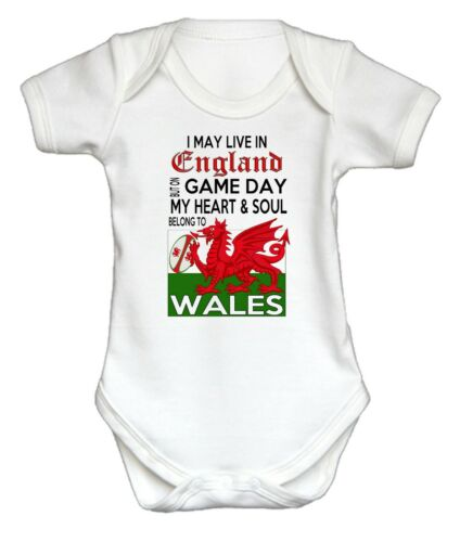 Wales WELSH RUGBY BABY GROW I May Live In England But on Game Day...