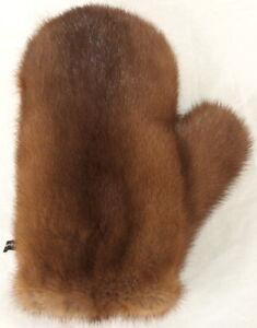 Mink Glove Velvet Nutria Fur 2in1 Double Sided Fur Full Wellness Massage Braun