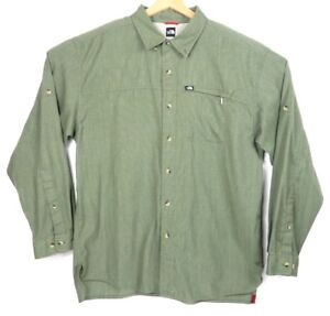 c43ead404 Details about The North Face Green L/S Outdoor Hiking Camping Button Down  Shirt Men's Large