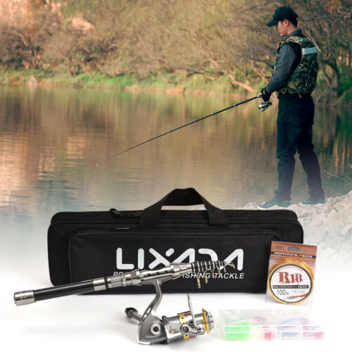 Lixada Telescopic Fishing Rod and Reel Combo Full Kit beginner Accessories I8J8