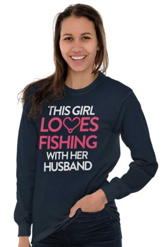 This Girl Loves Fishing ShirtHusband Wife Cute Couple Fish Long Sleeve Tee