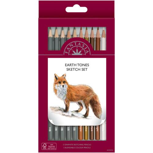 Fantasia England Boîte de 10 crayons de qualité earth tones neuve