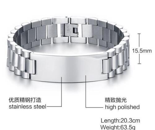 Men/'s Jewelry Stainless Steel Biker Link Chain ID Bracelet Silver 15mm 8.05/'/'