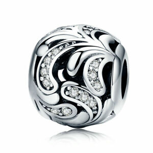 European-Silver-Leaves-Hollow-Charm-CZ-Beads-Pendant-Fits-925-sterling-Bracelet