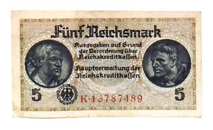 1940  NAZI Germany 5 Reichsmark Banknote SWASTIKA Low Grade