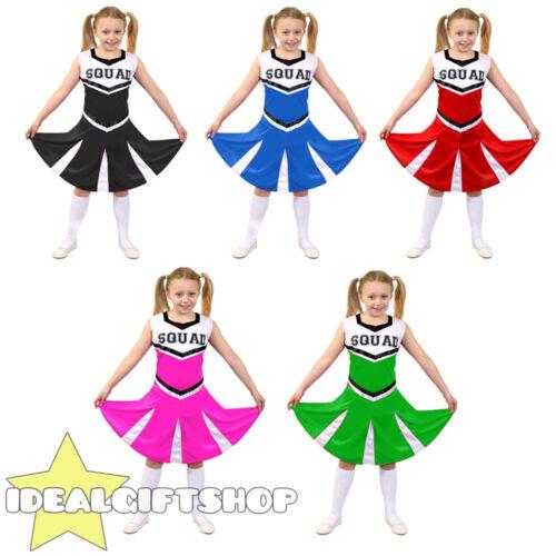CHILD/'S HIGH SCHOOL CHEERLEADER FANCY DRESS COSTUME BLACK BLUE GREEN PINK RED