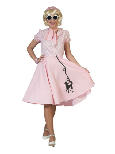 Rosa 50s Barboncino Costume Rock N Roll Hop Donna Nuovo
