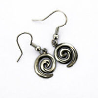Irish Pewter Celtic Legend Single Spiral Earrings
