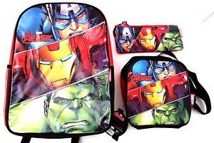 Marvel-Comics-Avengers-Assemble-Boy-039-s-Backpack-Lunch-Bag-amp-Pencil-Case-3-Pc-Set