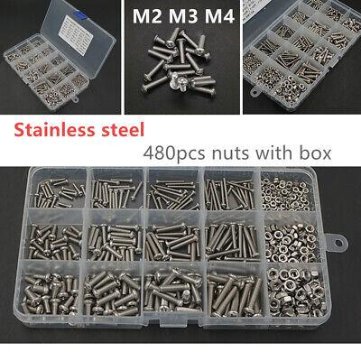 480pcs M2 M3//M4 304 Stainless Steel Hex Socket Head Cap Screws Nut Kit Set+Box